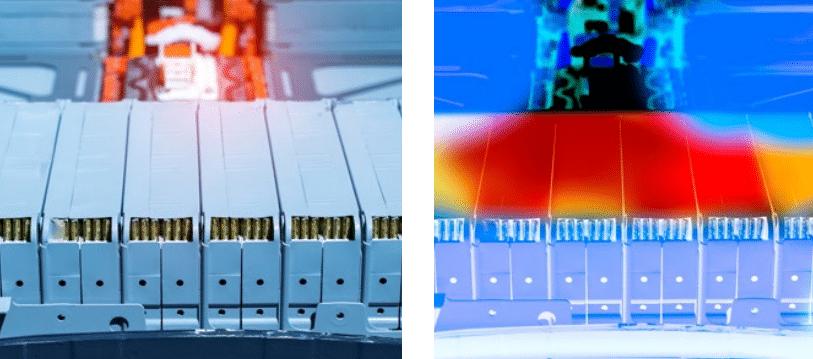 produccion de baterias, Termografía para el control de la producción de baterías